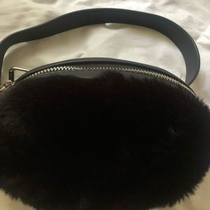 Supper fluffy black fanny pack ,never worn!